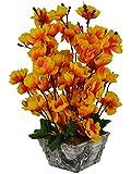 #10: Thefancymart artificial Blossom Flower plant Orange color (12 inchs/ 30 cms) arrangement in Marble Finish Pot
