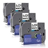 3x Labelwell 9mm x 8m Tze-221 Tze221 Tz-221 Schwarz auf Weiß Brother Ersatz Laminiert Selbstklebend Schriftband für Brother PTouch D400 H100LB E100 H105WB D200BW P750W D600VP P750W Beschriftungsgerät