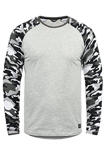 !Solid Cajus Camiseta De Manga Larga Camuflaje Estilo Militar Estampada Longsleeve para Hombre con Cuello Redondo De 100% algodón, tamaño:L, Color:Light Grey Melange (8242)