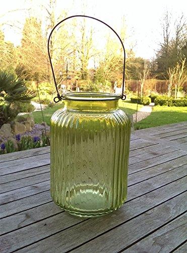 Bougie en pot verre strié. Par Gisela Graham. 25 cm. Bleu ou Vert Vert