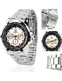 ORKINA PO014-S-Silver/White - Reloj para hombres, correa de acero inoxidable color plateado