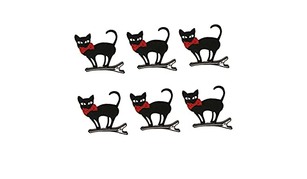6pcs Halloween Black Bowknot Cat Hairpin Baby Girl Hair Clips Barrette Party