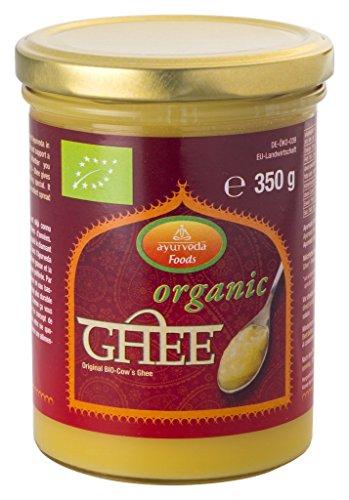 Ayurveda Foods - Organic Premium Bio Ghee 3er Set à 350g, sehr lange Haltbarkeit, Bio-Siegel, Brat- Kochfett, enthält Vitamine A, D, E & K