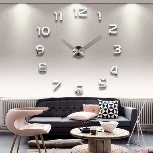 Orologio da parete diy, moon mood® moderno 3d forma di cifre frameless grande orologio materiale decorazione per casa ufficio hotel ristorante argento sticker wall clock