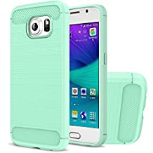 Funda Galaxy S6, HICASER Durabilidad Flexible TPU Case, Carbon Fiber Antideslizante Gota Protección Rugged Armor Defensivo Carcasa para Samsung Galaxy S6 Menta verde