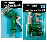 AQUA FLOW: 7 Funktionen und Spritzpistole für Gartenschlauch, 5 Stück, Schlauchanschluss Set Spritzpistole mit 7 verschiedenen Sprühfunktionen Bewässerung Gartenschlauch kit Einstellungen und Anschlüsse.