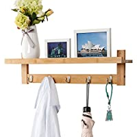 LANGRIA Coat Hook Wall Rack Wall Mounted Unit Bamboo Open Shelf 5 Metal Hooks Bathroom Hallway Living Room Kitchen Storage