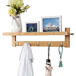 LANGRIA Perchero de Pared de Bambú con 5 Ganchos Metálicos y Estantería Superior con Espacio Adicional Estilo Escandinavo para Salón Baño Pasillo Dormitorio, Color Natural de Bambú