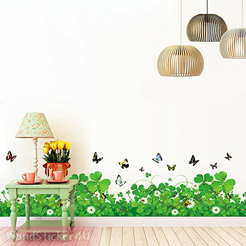 pared-sticker4u-diseno-de-flores-con-mariposas-ancho-120-cm-verde-natural-hierba-cenefa-entfernbare-