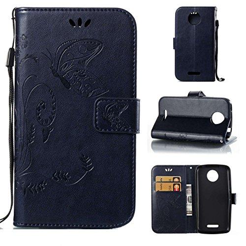 pinlu Flip Cover per Motorola Moto C Plus Alta qualità Portafoglio in Artificiale Pelle Colorata Luminoso Coperture Eleganti del Telefono Farfalla Erba Blu Scuro