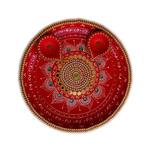 Salvus App SOLUTIONS Handmade Special Green kundan Pooja Thali with Decorated Diye Set  available at amazon for Rs.449