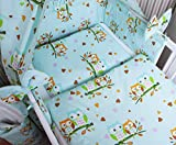 Amilian® Baby Bettwäsche 135/100 + 40/60 - 2tlg Kinderbettwäsche Bettset Eule Türkis/Blau
