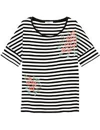 Promod Streifen-T-Shirt mit Stickerei