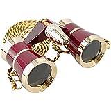 HQRP 3x25 Jumelles de theatre opera avec lampe de lecture rouge / bordeaux avec bordure dorée avec collier avec l'optique clair comme le cristal (OCC)