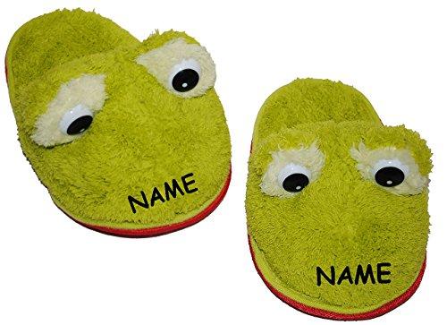 """Hausschuhe / Pantoffel - """" Frosch grün """" - incl. Name - Größe 35 - 36 - 37 - 38 - Plüschhausschuh - super weich - für Kinder & Erwachsene - Tierhausschuhe - Tier / Frösche / Quackfrosch - Hausschuh -"""