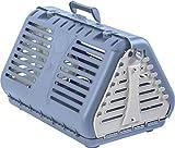 Rotho Mypet 4000806130 - Caja de Transporte Plegable para Gatos, Perros pequeños y Animales pequeños, Color Azul y Blanco