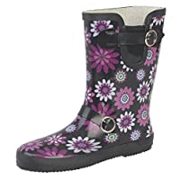 Womens Short Wellington Wellies Boots Black Pink Floral Print