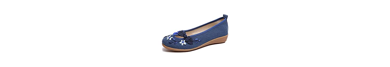 Zapatos de Mujer Primavera Verano Nueva Lino Algodón Redondeado Toe Alpargatas Viento Nacional Respirable Zapatos... -
