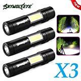 LED Taschenlampe 3500 Lumens, 3 Stücke Mini Wasserdicht XPE Q5+COB LED Taschenlampe By huichang