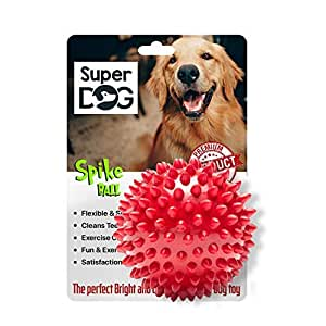 Super Dog Spiked Rubber Dog Ball (Color May Vary)...