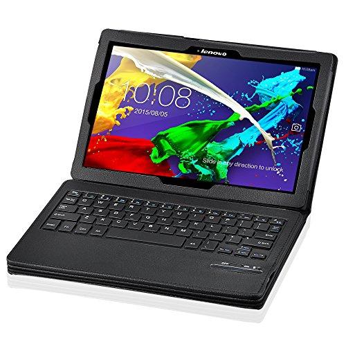 IVSO Lenovo TAB 2 A10-70 Bluetooth Tastatur (QWERTZ Tastatur)- mit Standfunction , Abnehmbare Wireless Bluetooth Tastatur Schutzhülle NUR geeignet für Lenovo TAB 2 A10-70 25,6 cm (10,1 Zoll) Tablet-PC, Schwarz