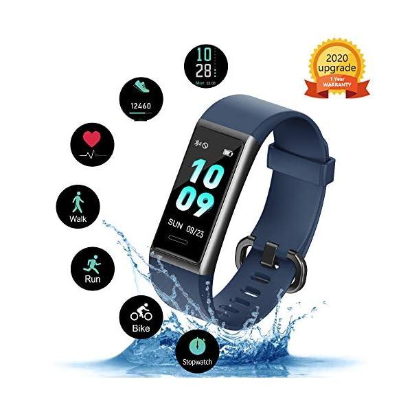 KUNGIX Pulsera de Inteligente Mujer, Smartwatch Impermeable IP68 con 14 Modos de Deporte, 0.96 Inch Pantalla Color Reloj Deportivo con Pulsómetro para Hombre Android iPhone iOS Teléfono 1