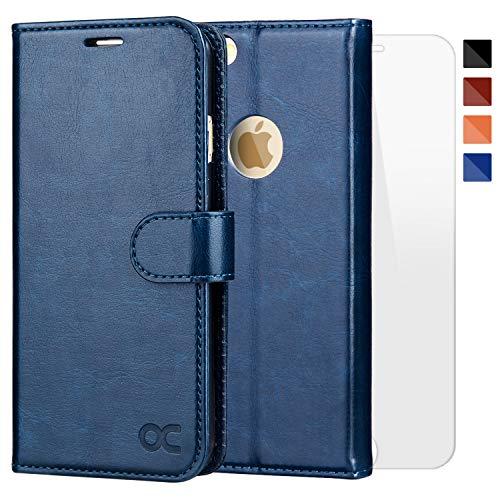 OCASE iPhone 6 Hülle Handyhülle iPhone 6S [ Gratis Panzerglas Schutzfolie ] [Premium Leder] [Standfunktion] [Kartenfach] [Magnetverschluss] Schlanke Leder Brieftasche für Apple iPhone 6/6S Blau