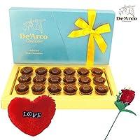 De'Arco Chocolatier Valentine chocolate for girl friend, Valentines Day Chocolates, Valentines Day Gift Hamper, Premium Valentine Chocolate, 200g + FREE - Furr Heart and Rose