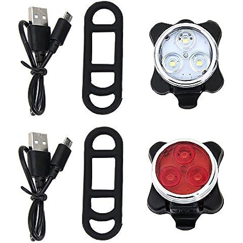 Agapo Luces LED para bicicleta recargable por USB conjunto de luces delantera y trasera para bicicleta 4 modos de iluminación