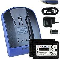 2 Batterie + Caricabatteria (USB/Auto/Corrente) per VW-VBT380 / Panasonic HC-V500, V510, V520, W850M, W858, WX979... - v. lista - con Infochip 100% decodificato - Twin Cam Auto
