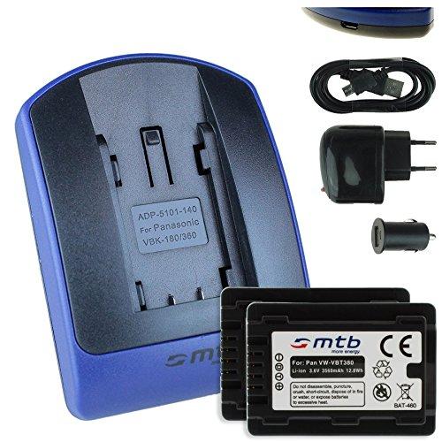 2 Akkus + Ladegerät (Netz+Kfz+USB) für VW-VBT380 / Panasonic HC-V500, V510, V520, W850M, W858, WX979... - s. Liste - mit Infochip 100% dekodiert