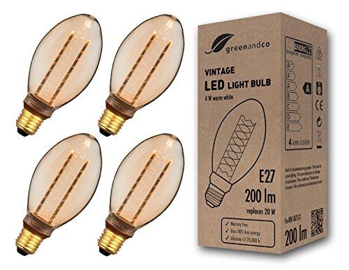 4x greenandco® Vintage Design LED Lampe im Retro Stil zur Stimmungsbeleuchtung E27 B75 Edison Glühbirne, 4W 200lm 1800K extra warmweiß 300° 230V flimmerfrei, nicht dimmbar 2 Jahre Garantie