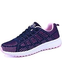 Mujer Zapatillas de Deportivos Sneakers Casual Malla para Verano Negro Azul Gris Blanco 35-40