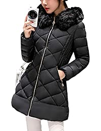 SaiDeng Chaqueta Abrigo Térmico Parka Con Capucha De Invierno Para Mujer Negro XL