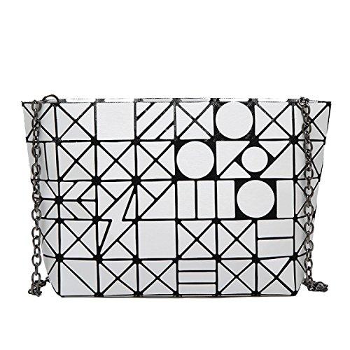 Handmade Tote Handtasche (Frauen Art Und Weise Diamantgitter-Schulter Crossbody Tote Bauschen Sich Multicolor,White-OneSize)