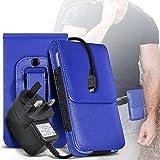 N4U ONLINE Samsung Galaxy S5 mini Premium PU Leder Gürteltasche Schutzhülle & CE geprüft Netzladegerät - blau