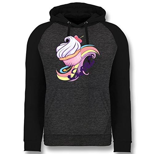 kuche-sweet-cupcake-l-dunkelgrau-meliert-schwarz-jh009-cooler-unisex-baseball-hoodie-fur-damen-und-h