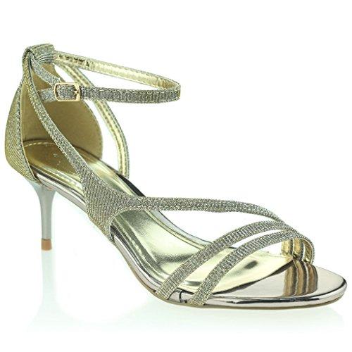 Frau Damen Offener Zeh Fesselriemen Dünn Mittlere Ferse Abend Party Hochzeit Abschlussball Zinn Sandalen Schuhe Größe 36 (Pewter Gladiator-sandalen)