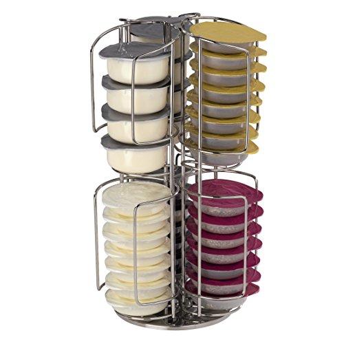 Xavax drehbarer Kaffee-Kapselständer Rondello für Tassimo, 48 Kapseln, Silber verchromt