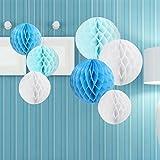 7er Set Seidenpapier Papier Pompons Wabenbälle Dekoration Deko für Geburtstage Partys Hochzeiten Baby-Duschen Feste –Weiß Hellblau Blau / 15cm, 20cm