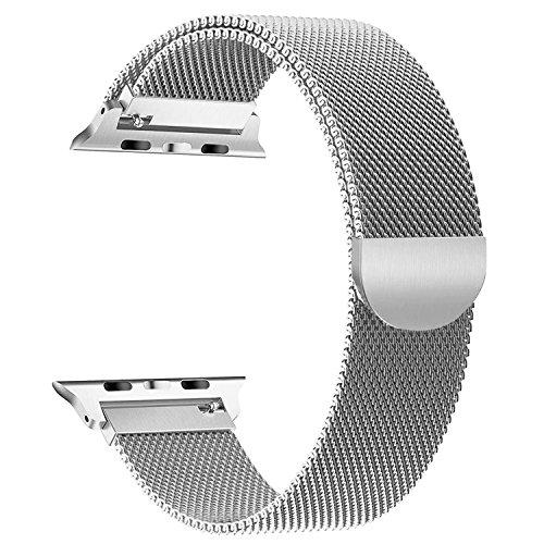YOUKESI Apple Watch Armband 38mm, Milanaise Schlaufe Edelstahl Armbänder mit Einzigartiger Magnetverriegelung Ohne Schnalle Für Apple Watch 38mm Series 3/2/1, Sport, Edition, Nike+ (Silber 38mm)