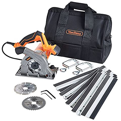 VonHaus 1050W Compact Circular Plunge Saw Kit with Track Guides | 110mm Blade - 3x Cutting Discs - 2x Clamps