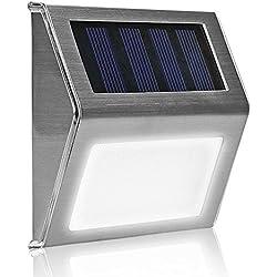Foco Solar de 3 LED, BYD Lamparas Solares,Focos para la Pared de Luz Solar , Led Solar Movimiento, Luces de Exterior Solar para Jardín,Patio,Terraza,Escaleras,Camino de entrada,Iluminación y Seguridad de exterior.