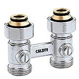 Caleffi 301052 Zweirohr Hahnblock 3/4 Zoll Durchgang Messing Doppelkugelhahn Eurokonus Heizkörperanschluß