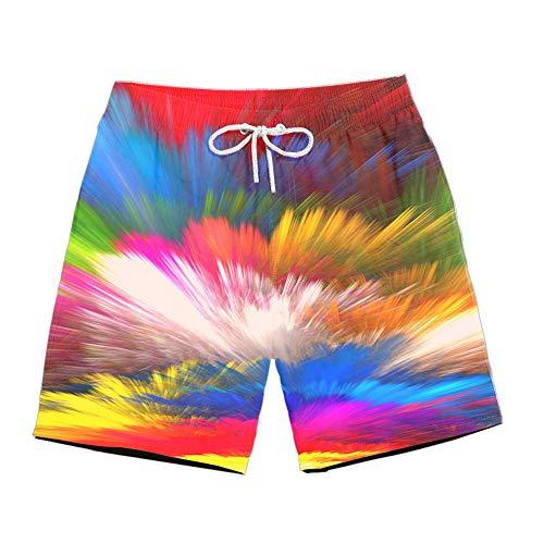 ZHOUXICAN Herren Freizeit-Shorts Herren 3D Sternengalaxie Digitaldruck Casual Sports Shorts H40 L Desert Rose Floral