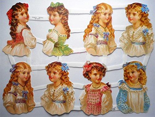 Mäödchen Tracht Dirndl Kleid EF 7100 Glanzbilder Oblate Posiebilder Scrapbook Deko GWI 419