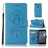 sinogoods Für Xiaomi Redmi Note 5A Hülle, Premium PU Leder Schutztasche Klappetui Brieftasche Handyhülle, Standfunktion Flip Wallet Case Cover - Blau