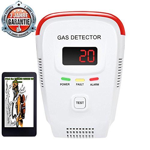 Gasmelder - für Stadtgas Erdgas Methangas Propangas Butangas Flüssiggas Gas mit Sprachwarnung und Digitalanzeige (Propan-detektor)