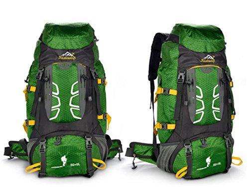 Nylon outdoor Bergsteigen Tasche 70L Rucksack Taschen für Männer und Frauen Geschenkpaket Green