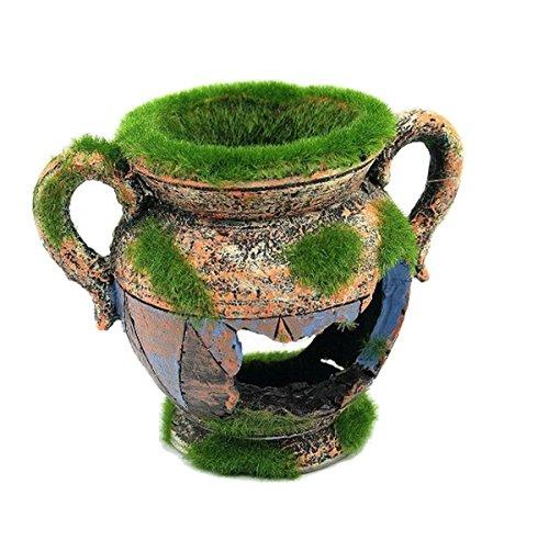 Aquarium Ornament Dekoration Vase mit Moos